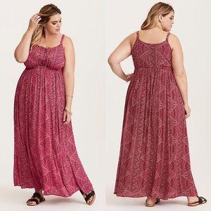 NWOT Berry geo print embellished gauze maxi dress